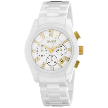 Men's Classico White Dial White Ceramic Band Quartz Watch