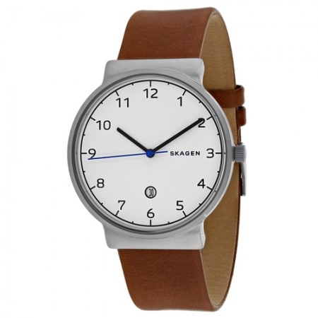 Men's Ancher White Dial Brown Leather Band Quartz Watch