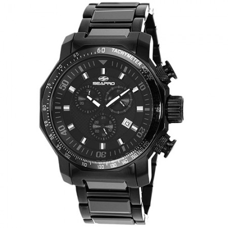 Men's Coral Black Dial Black Ceramic And Stainless Steel Band Swiss Parts Quartz Watch