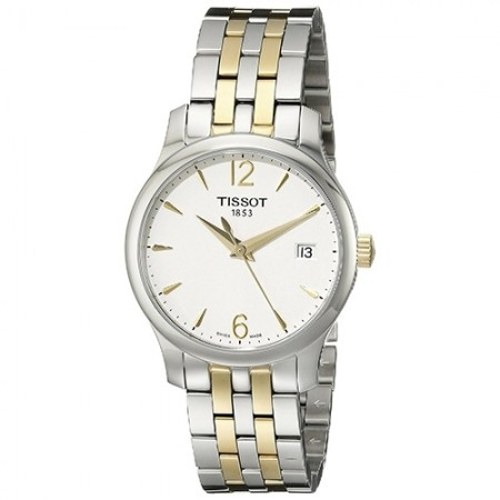 Women's T-Classic White Dial Gold-Tone Stainless Steel Band Quartz Watch
