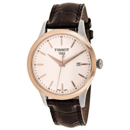 Men's Classic White Dial Brown Leather Band Quartz Watch