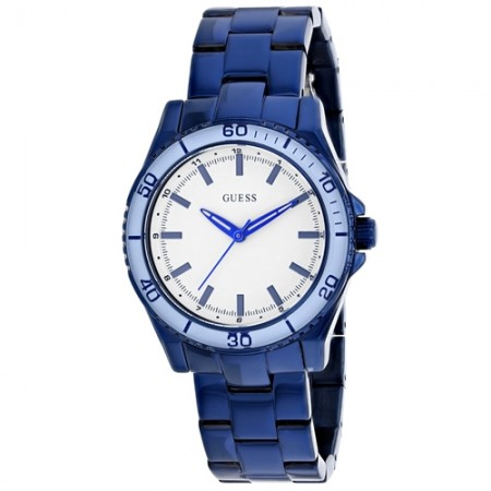 Men's Classic White Dial Blue Stainless Steel Band Quartz Watch