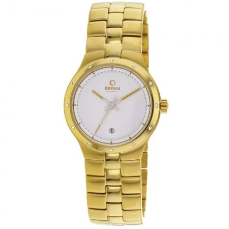 Women's Harmony White Dial Gold-Tone Stainless Steel Band Quartz Watch