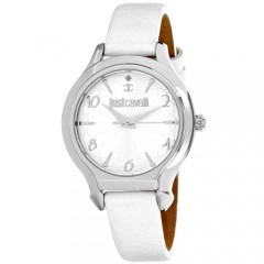 Women's Hook J Gun Metal Dial White Leather Band Quartz Watch