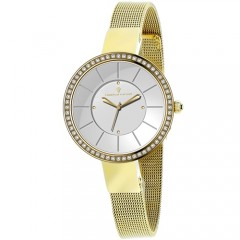 Women's Reign Gun Metal Dial Gold-Tone Stainless Steel Band Quartz Watch