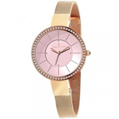 Women's Reign Pink Dial Rose Gold-Tone Stainless Steel Band Quartz Watch