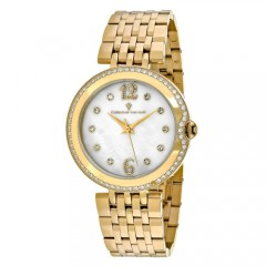 Women's Jasmine White Dial Gold-Tone Stainless Steel Band Quartz Watch