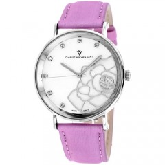 Women's Fleur White Dial Pink Leather Band Quartz Watch
