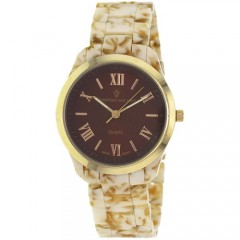 Women's Granite Brown Dial Marble Beige Plastic Band Quartz Watch