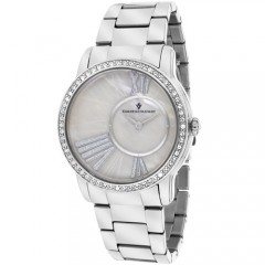 Women's Exquisite White Dial Gun Metal Stainless Steel Band Quartz Watch
