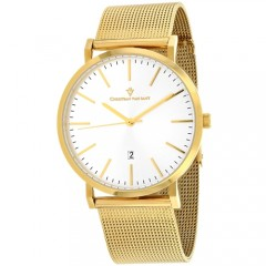 Men's Paradigm Gun Metal Dial Gold-Tone Stainless Steel Band Quartz Watch