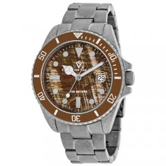Men's Montego Vintage Brown Dial Gun Metal Distressed Stainless Steel Band Quartz Watch