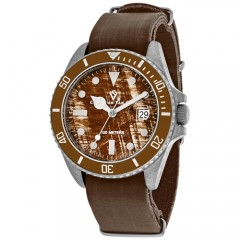 Men's Montego Vintage Brown Dial Brown Leather Band Quartz Watch