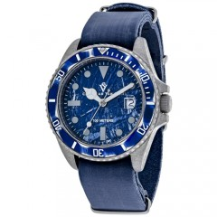 Men's Montego Vintage Blue Dial Blue Leather Band Quartz Watch