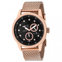 Men's Rio Black Dial Rose Gold-Tone Stainless Steel Band Quartz Watch