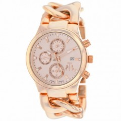Women's Lev Rose Gold-Tone Dial Rose Gold-Tone Stainless Steel Band Swiss Parts Quartz Watch