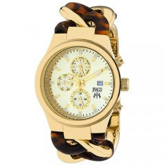 Women's Lev Gold-Tone Dial Gold-Tone Stainless Steel Band Swiss Parts Quartz Watch