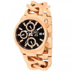 Women's Levley Black Dial Rose Gold-Tone Stainless Steel Band Swiss Parts Quartz Watch