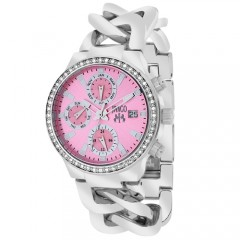 Women's Levley Pink Dial Gun Metal Stainless Steel Band Swiss Parts Quartz Watch