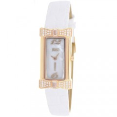 Women's Charmante White Dial White Leather Band Swiss Parts Quartz Watch