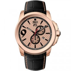 Men's Gliese Rose Gold-Tone Dial Black Leather Band Swiss Parts Quartz Watch