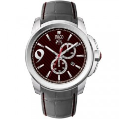 Men's Gliese Maroon Dial Grey Leather Band Swiss Parts Quartz Watch