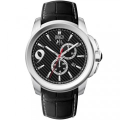 Men's Gliese Black Dial Black Leather Band Swiss Parts Quartz Watch