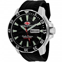 Men's Scuba Dragon Diver Limited Edition 1000 Meters Black Dial Black Silicone Band Quartz Watch