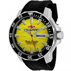 Men's Scuba Dragon Diver Limited Edition 1000 Meters Yellow Dial Black Silicone Band Quartz Watch