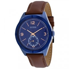 Men's Dress Blue Dial Brown Leather Band Quartz Watch