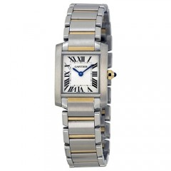 Women's Tank White Dial Gun Metal Stainless Steel Band Swiss Quartz Watch