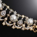 LeoDaniels Signature Art Deco White South Sea Cultured Pearl and Diamond Bracelet in Two-Tone 14kt Gold