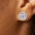Round Pink Sapphire and Diamond Double Halo Earrings in 14kt White Gold