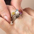 Round Gemstone or Diamond Stackable Beaded Ring in White, Yellow, or Rose Gold