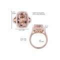 Signature Rectangular Cushion Cut Morganite and Diamond Ring in 14kt Rose Gold