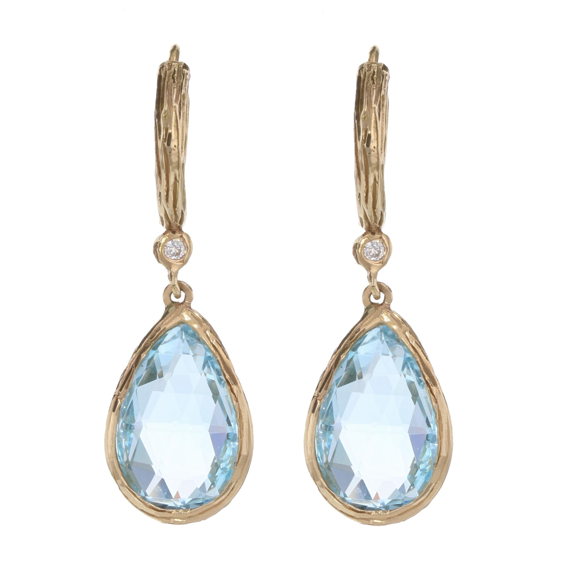 Details About Teardrop Blue Topaz And Diamond Earrings In 14kt Yellow Gold